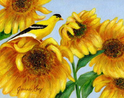 Painting - Goldfinch And Sunflowers by Jeanne Kay Juhos
