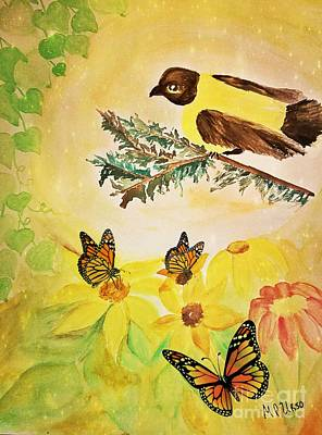 Painting - Goldfinch Garden by Maria Urso