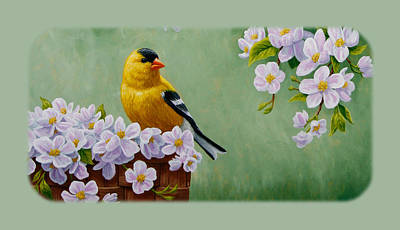 Basket Painting - Goldfinch Iphone Case H1 by Crista Forest