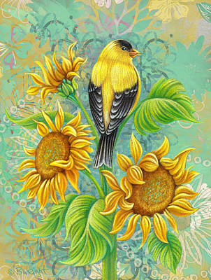 Goldfinch Drawing - Goldfinch On Sunflower by Beth Wright