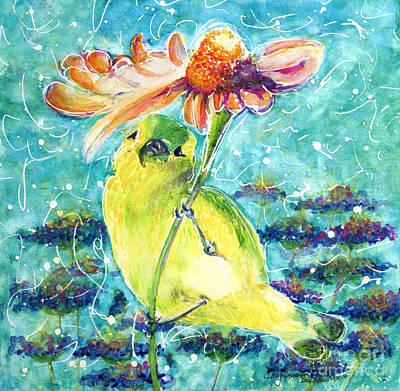 Painting - Goldfinch Under Her Umbrella by CheyAnne Sexton