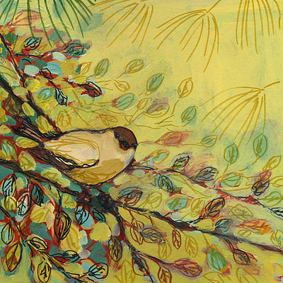 Whimsical Animal Illustrations - Goldfinch Waiting by Jennifer Lommers