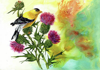 Painting - Goldfinch With Thistles by Sherry Shipley