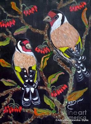 Painting - Goldfinches by Anna Folkartanna Maciejewska-Dyba