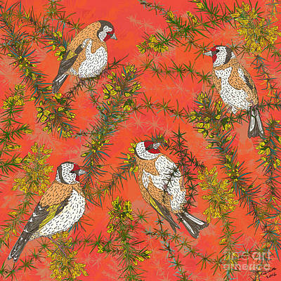 Goldfinches Art Print by Lotti Brown