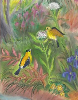 Painting - Goldfinches Plucking Thistledown Teen Pastel by Dawn Senior-Trask