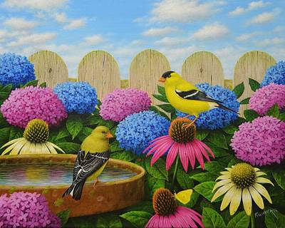 Wavra Wall Art - Painting - Goldfinches by Robert Wavra