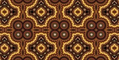 Persian Carpet Digital Art - Goldfire Persian Carpet by M E Cieplinski