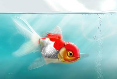 Goldfish Digital Art - Goldfish 13x19 by John Wills