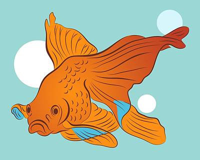 Digital Art - Goldfish And Bubbles Graphic by MM Anderson