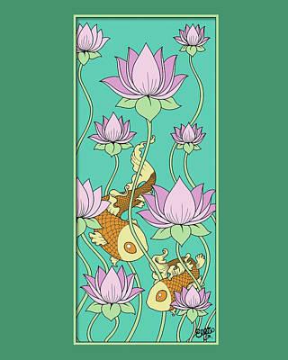 Digital Art - Goldfish And Lotus by Eleanor Hofer