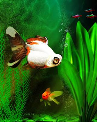 Digital Art - Goldfish Aquarium by John Wills