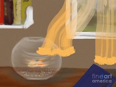 Goldfish Digital Art - Goldfish Bowl by Kate Jones