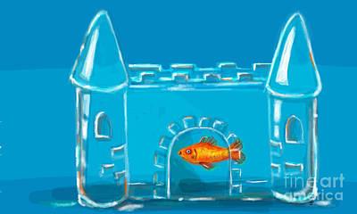 Goldfish Digital Art - Goldfish Castle Tank by Sara Schuder