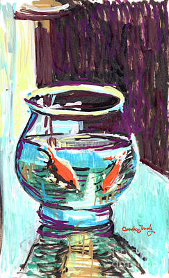 Painting - Goldfish In A Bowl by Candace Lovely