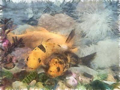 Goldfish Digital Art - Goldfish In An Aquarium by Ashish Agarwal