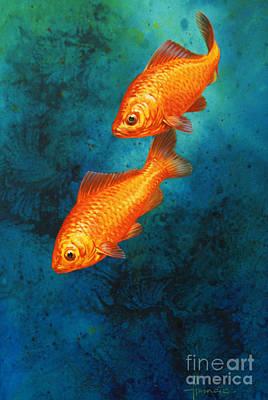 Fish Underwater Painting - Goldfish by John Francis