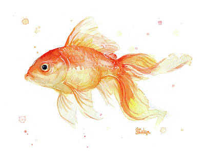 Gold Fish Painting - Goldfish Painting Watercolor by Olga Shvartsur