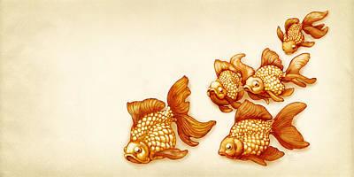 Goldfish Mixed Media - Goldfish School by Catherine Noel