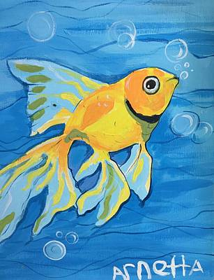 Easterseals Painting - Goldfish Whisper by Arnetta T