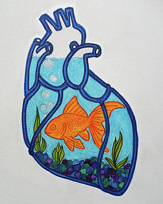 Painting - Goldfish With Glass Heart by Lone Quixote