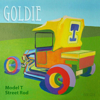 Street Rod Painting - Goldie Model T by Evie Cook