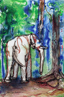 African Gray Painting - Goldie The Elephant by Shirley Sykes Bracken