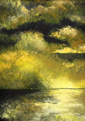 Sunrise Over Water Painting - Goldlen Reflections by Barbara Remensnyder