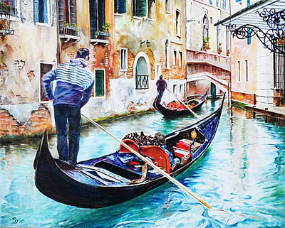 Painting - Gondola On The Grand Canal, Venice, Italy by Steve James