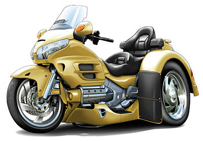 Honda Digital Art - Goldwing Gold Trike by Maddmax