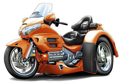 Honda Digital Art - Goldwing Orange Trike by Maddmax