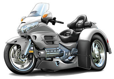 Goldwing Digital Art - Goldwing Silver Trike by Maddmax