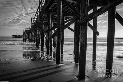 Photograph - Goleta Beach Pier Black And White by Mitch Shindelbower