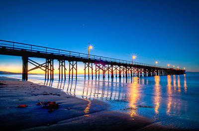 Photograph - Goleta Pier At Sunrise by Connie Cooper-Edwards
