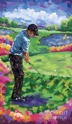 Ernie Els Wall Art - Painting - Golf 3 by Tim Gilliland