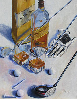 Scotch Painting - Golf And Gold Label by James Scrivano