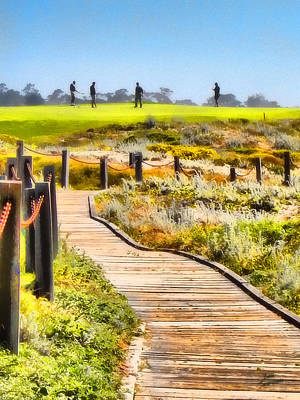 Golf At Pebble Beach Art Print by Kathy Tarochione