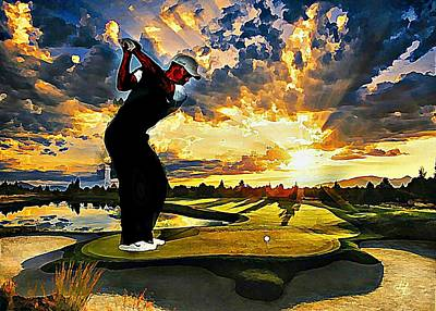 Digital Art - Golf At Sunset by Lynda Payton