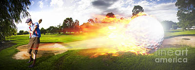 Sports Royalty-Free and Rights-Managed Images - Golf Ball On Fire by Jorgo Photography
