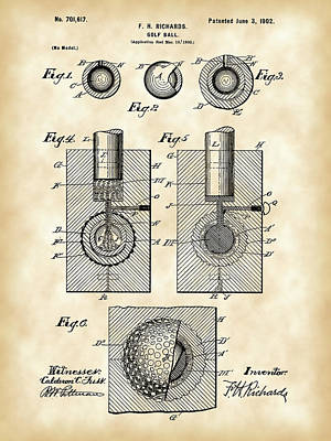 Parchment Digital Art - Golf Ball Patent 1902 - Vintage by Stephen Younts