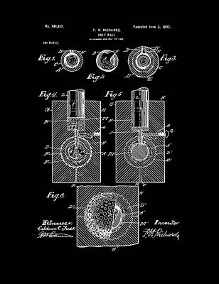Digital Art - Golf Ball Patent Drawing Black by Bekim Art