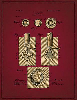 Digital Art - Golf Ball Patent Drawing Dark Red 2 by Bekim Art