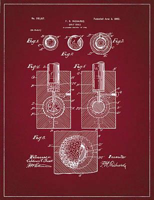 Digital Art - Golf Ball Patent Drawing Dark Red by Bekim Art