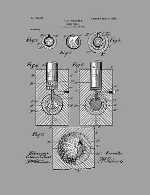 Digital Art - Golf Ball Patent Drawing Grey by Bekim Art