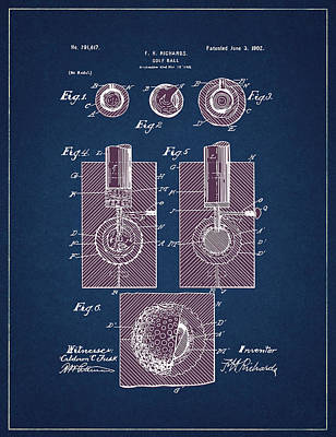 Digital Art - Golf Ball Patent Drawing Navy Blue 2 by Bekim Art