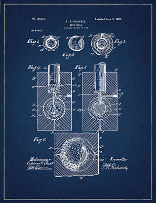 Digital Art - Golf Ball Patent Drawing Navy Blue by Bekim Art