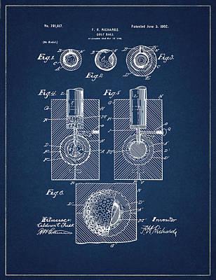 Digital Art - Golf Ball Patent Drawing Navy Blue by Bekim Art