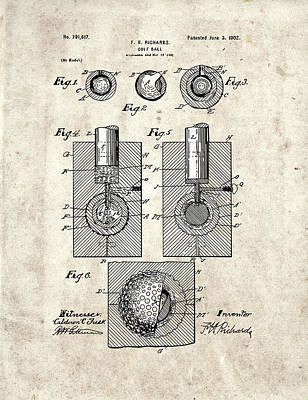 Sports Royalty-Free and Rights-Managed Images - Golf Ball Patent Drawing Vintage 2 by Bekim Art