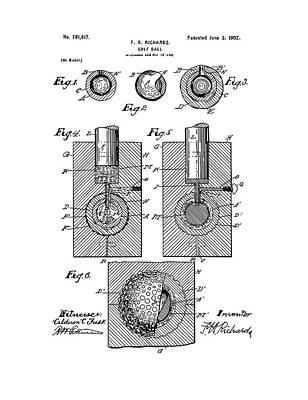 Digital Art - Golf Ball Patent Drawing White by Bekim Art