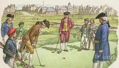 Golfer Painting - Golf Being Played In St Andrews In The 18th Century by Pat Nicolle